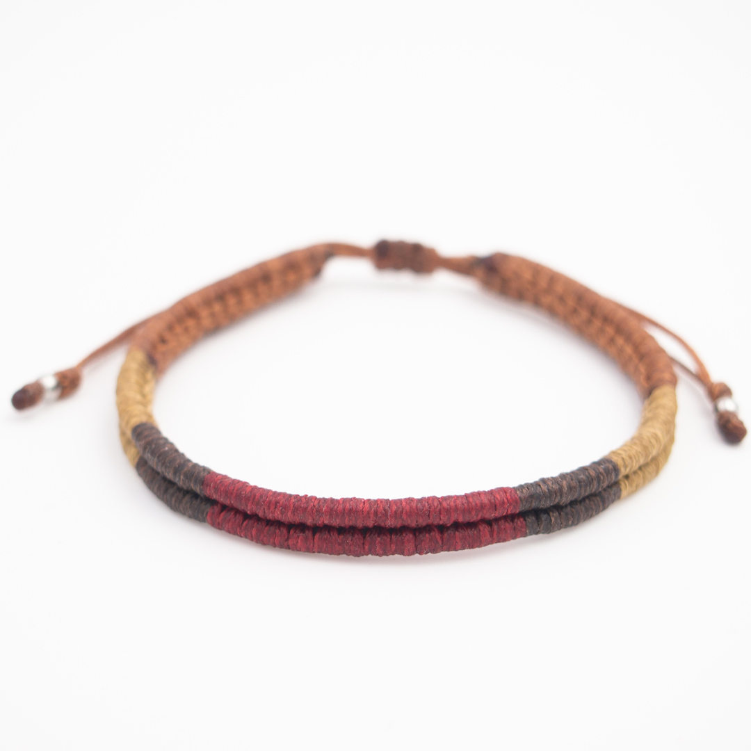 Bracelet mixte Compas fait-main | Bordeaux - Marron - Moutarde