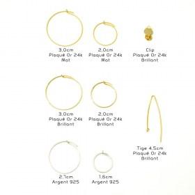 Boucles d'oreilles en Calebasse séchée Cari-Demi-Tri faites main | Noir - Turquoise - Moutarde (Photo : Créoles 3cm plaqués or brillant)