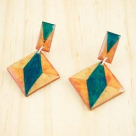 Boucles d′oreilles en Calebasse séchée et argent 925 Cari-Duo-Los faites main | Saumon - Beige - Turquoise