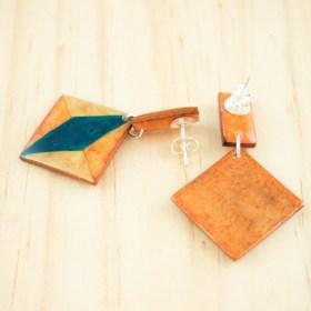 Boucles d′oreilles en Calebasse séchée et argent 925 Cari-Duo-Los faites main   Saumon - Beige - Turquoise