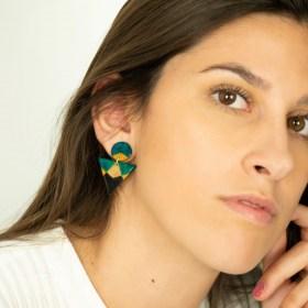 Boucles d′oreilles en Calebasse séchée et argent 925 Cari Duo Ref faites main | Noir - Beige - Turquoise - Jaune