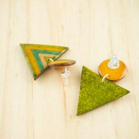 Boucles d′oreilles en Calebasse séchée et argent 925 Cari-Duo faites main | Fle : Jaune - Vert - Beige