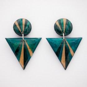 Boucles d′oreilles en Calebasse séchée et argent 925 Cari-Duo faites main | Pav : Bleu - Beige