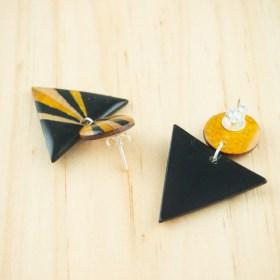 Boucles d′oreilles en Calebasse séchée et argent 925 Cari-Duo faites main | Pav : Noir - Jaune - Beige