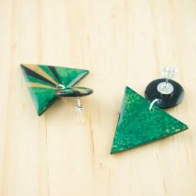 Boucles d′oreilles en Calebasse séchée et argent 925 Cari-Duo faites main | Pav : Bleu - Vert - Beige