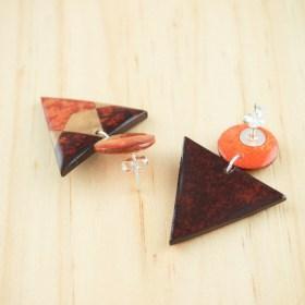 Boucles d′oreilles en Calebasse séchée et argent 925 Cari-Duo faites main | Ref : Rouge - Beige