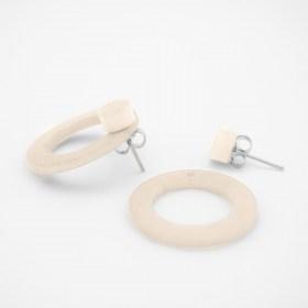 Boucles d′oreilles devant derrière en ivoire végétal Duo-Cer faites main | Blanches