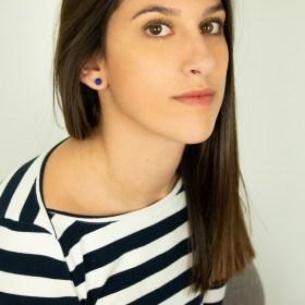 Boucles d′oreilles en ivoire végétal Duo-Cer faites main | Bleues