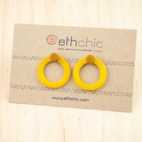 Boucles d′oreilles en ivoire végétal Duo-Cer faites main | Jaunes