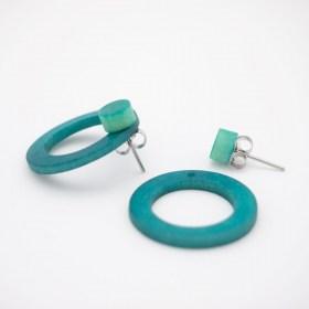 Boucles d′oreilles devant derrière en ivoire végétal Duo-Cer faites main | Canard - Menthe