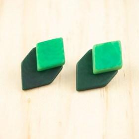 Boucles d′oreilles en ivoire végétal et argent 925 Duo-Large-Los faites main   Vertes