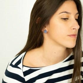 Boucles d′oreilles en ivoire végétal et argent 925 Duo-Large-Los faites main | Bleues