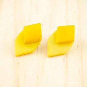 Boucles d′oreilles en ivoire végétal et argent 925 Duo-Large-Los faites main | Jaunes