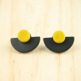 Boucles d′oreilles en ivoire végétal et argent 925 Duo-Large-Pre faites main | Noir - Jaune