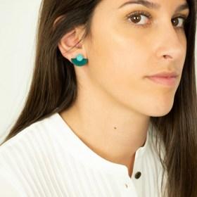 Boucles d′oreilles en ivoire végétal et argent 925 Duo-Large-Pre faites main | Canard - Bleu clair
