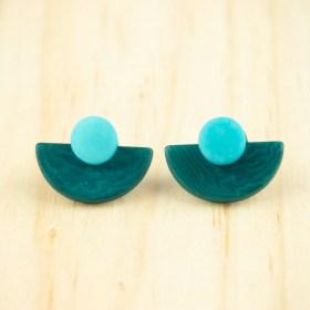 Boucles d′oreilles en ivoire végétal et argent 925 Duo-Large-Pre faites main   Canard - Bleu clair