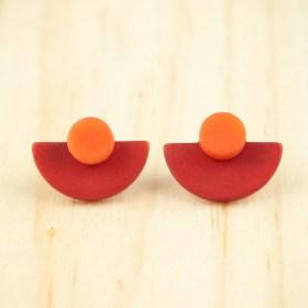 Boucles d′oreilles en ivoire végétal et argent 925 Duo-Large-Pre faites main | Rouge - Corail