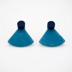Boucles d′oreilles devant derrière en ivoire végétal Duo-Pre-R faites main | Bleues