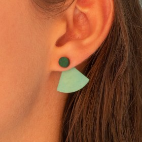 Boucles d′oreilles devant derrière en ivoire végétal Duo-Pre-R faites main | Noir - Vert