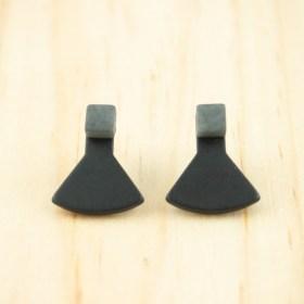 Boucles d′oreilles en ivoire végétal Duo-Pre faites main | Noires - Grises