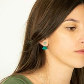 Boucles d′oreilles en ivoire végétal Duo-Pre faites main | Vertes - Menthe