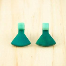 Boucles d'oreilles en ivoire végétal Duo-Pre faites main | Vertes - Menthe
