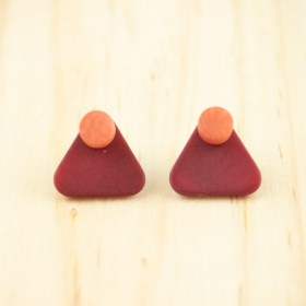 Boucles d′oreilles en ivoire végétal Duo-Tri arrondis faites main | Rouges