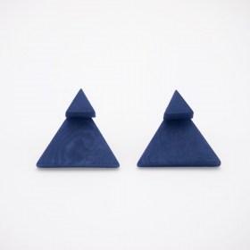 Boucles d′oreilles devant derrière en ivoire végétal Duo-Tri faites main | Bleues