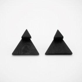 Boucles d′oreilles en ivoire végétal Duo-Tri faites main | Noires