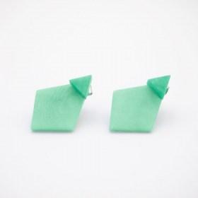 Boucles d′oreilles devant derrière en ivoire végétal Duo-Los faites main | Menthe