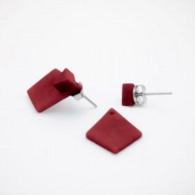 Boucles d′oreilles en ivoire végétal Duo-Los faites main | Rouges