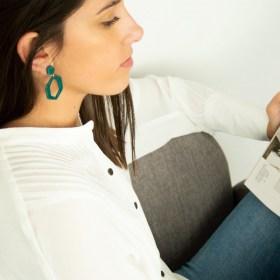 Boucles d′oreilles en ivoire végétal Hexa Large faites main | Canard