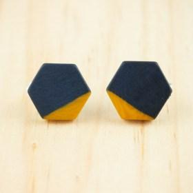Boucles d′oreilles en ivoire végétal et argent 925 Hexa-Bi faites main | Bleu marine - Moutarde