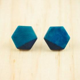 Boucles d′oreilles en ivoire végétal et argent 925 Hexa-Bi faites main | Bleu - Bleu marine