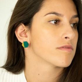 Boucles d′oreilles en ivoire végétal et argent 925 Hexa-Bi faites main | Canard - Moutarde