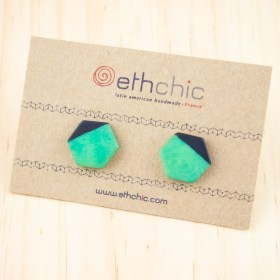 Boucles d′oreilles en ivoire végétal et argent 925 Hexa-Bi faites main | Menthe - Bleu Marine