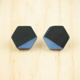 Boucles d′oreilles en ivoire végétal et argent 925 Hexa-Bi faites main | Noir - Bleu