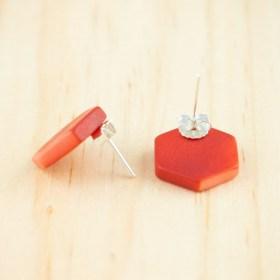 Boucles d′oreilles en ivoire végétal et argent 925 Hexa-Bi faites main | Rouge - Corail