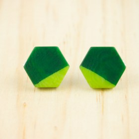 Boucles d′oreilles en ivoire végétal et argent 925 Hexa-Bi faites main | Vert - Vert clair