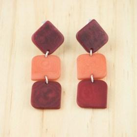Boucles d′oreilles en ivoire végétal et argent 925 Rotation faites main | Rouges