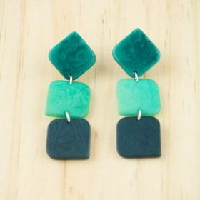 Boucles d′oreilles en ivoire végétal et argent 925 Rotation faites main | Vertes