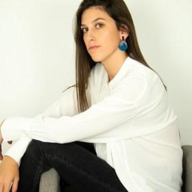 Boucles d'oreilles en ivoire végétal et argent 925 Trio-Pen faites main | Bleues