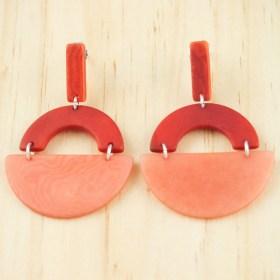 Boucles d′oreilles en ivoire végétal et argent 925 Trio-Pen faites main | Rouges