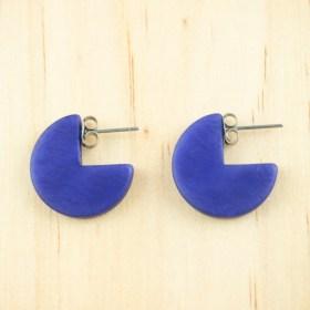 Boucles d′oreilles en ivoire végétal Profil-Cir faites main | Bleues