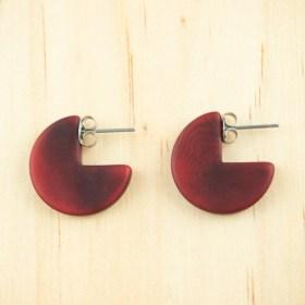 Boucles d′oreilles en ivoire végétal Profil-Cir faites main | Rouges