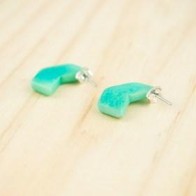 Boucles d′oreilles en ivoire végétal Profil-Hex faites main | Menthe