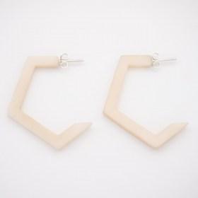 Boucles d'oreilles en ivoire végétal Profil XL faites main | Blanches