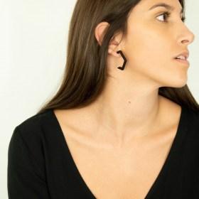 Boucles d′oreilles en ivoire végétal Profil XL faites main | Noir