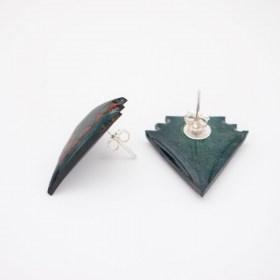 Boucles d′oreilles en Calebasse séchée et argent 925 Cari-Geo-Fle faites main | Bleu canard -Vert - Saumon