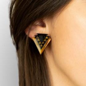 Boucles d′oreilles en Calebasse séchée et argent 925 Cari-Geo-Fle faites main | Noir - Moutarde